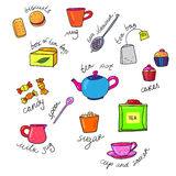 Bright colors tea cup and teapot Royalty Free Stock Images