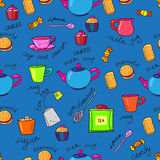Bright colors tea cup and teapot Stock Photography