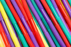 Bright colour drinking straws for party background. For abstract background royalty free stock photos