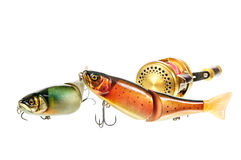 Bright colour fishing lure Stock Photos