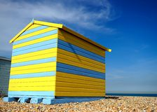 Bright coloured beach hut with blue sky Stock Photo