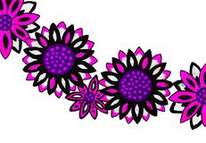 Bright coloured drawing of flowers. A gel pen picture of pretty mauve flowers on a white white background Stock Images