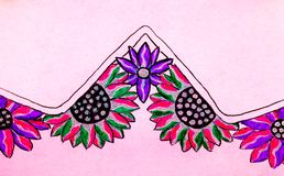Bright coloured drawing of flowers. A gel pen picture of pretty coloured flowers on a pink background Stock Photography