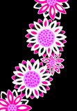 Bright coloured drawing of flowers. A gel pen picture of pretty pink flowers on a white black background Royalty Free Stock Photography