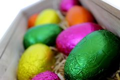 Easter Eggs in Wood Box 2 Stock Image