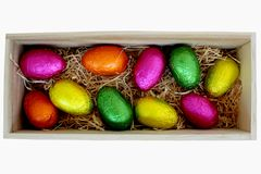 Easter Eggs in Wood Box 1 Royalty Free Stock Photo