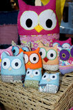 Bright coloured hand made owls Royalty Free Stock Images