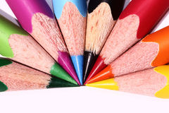 Bright coloured pencil. Photo of some brightly coloured pencils over white Stock Photography