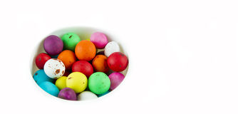 Bright coloured speckled eggs Royalty Free Stock Photo