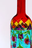 Painted bottle. A close-up of a  colourful hand painted bottle Royalty Free Stock Photos