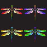Bright colourful dragonflies. Set of mosaic dragonflies, colorful dragonflies, stained-glass dragonflies, dark background Royalty Free Illustration
