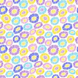 Bright colourful field of daisies flowers in a hot summer. . Vector seamless colourful non-dimensional pattern with freehand drawing floral motifs on the white Stock Images