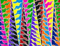 Bright colourful hand drawn zigzag pattern. Stock Photo