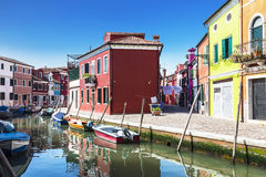 Bright colourful houses in  Burano island on the edge of the Venetian Lagoon. Venice Stock Images