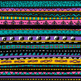 Bright colourful tribal seamless pattern. Hand drawn boho background. Vector Stock Illustration