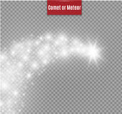 A bright comet with large dust. Falling Star. Glow light effect. Golden lights. Vector illustration. Royalty Free Stock Photos