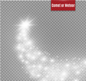 A bright comet with large dust. Falling Star. Glow light effect. Golden lights. Vector illustration. Stock Images