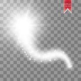 A bright comet with large dust. Falling Star. Glow light effect. Golden lights. Vector illustration. Eps 10 Stock Images