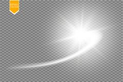 A bright comet with large dust. Falling Star. Glow light effect. Golden lights. Vector illustration. Eps 10 Stock Image