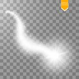 A bright comet with large dust. Falling Star. Glow light effect. Golden lights. Vector illustration. Eps 10 Royalty Free Stock Images