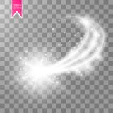 A bright comet with large dust. Falling Star. Glow light effect. Golden lights. Vector illustration. Eps 10 Royalty Free Stock Photos