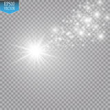 A bright comet with large dust. Falling Star. Glow light effect. Royalty Free Stock Photography