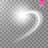 A bright comet with large dust. Falling Star. Glow light effect. Vector illustration Stock Photo