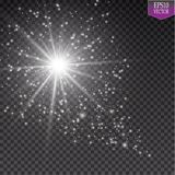 A bright comet with large dust. Falling Star. Glow light effect. Vector illustration. EPS10 Royalty Free Stock Photos