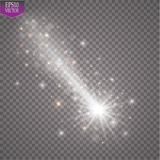A bright comet with large dust. Falling Star. Glow light effect. Vector illustration. EPS10 Royalty Free Stock Photo