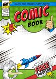 Bright comic book cover concept. With flying rocket dynamic rays halftone effects and inscriptions vector illustration stock illustration