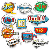 Bright comic speech bubbles screams, phrases, sounds. Vector Stock Image