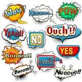 Bright comic speech bubbles screams, phrases, sounds Stock Image