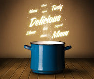 Bright comments above cooking pot Royalty Free Stock Image