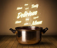 Bright comments above cooking pot Stock Photo