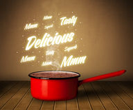 Bright comments above cooking pot. Shiny comments above cooking pot Stock Images