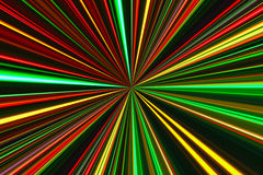 Bright concentric color lines on black. Abstract background with concentric glowing lights lines Stock Images