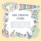 Bright concept of kids creative studio info card with sample text. Suitable for advertisement or information banner decor stock illustration