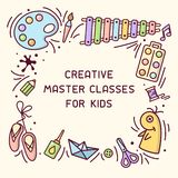 Bright concept of kids master class info card with place for your text. Suitable for advertisement or information banner decor vector illustration