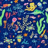 Bright concept underwater seamless pattern Royalty Free Stock Photos