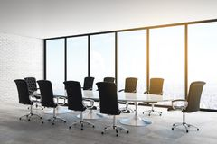 Bright concrete meeting room. Interior with panoramic city view, furniture and daylight. 3D Rendering royalty free illustration