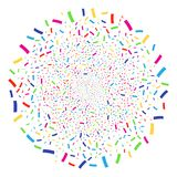 Confetti Festival Spheric Cluster. Bright Confetti burst globula. Vector spheric cluster bang organized by scattered confetti objects. Psychedelic Vector Royalty Free Stock Photography