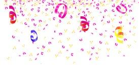 Bright confetti ribbon on white background. Bright multicolored confetti ribbon on white background Stock Photo
