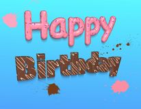 Bright congratulation Happy Birthday made of chocolate and confetti Royalty Free Stock Photography