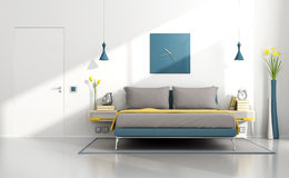 Bright contemporary bedroom Stock Image