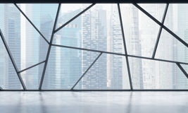 A bright contemporary panoramic empty office space with Singapore view. The concept of highly professional financial or legal serv Royalty Free Stock Photo