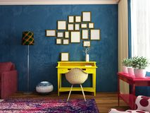Bright contemporary work place in vintage interior Royalty Free Stock Images
