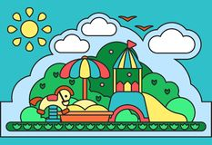 Bright contour concept of kids playground elements. Suitable for advertising or children book decoration stock illustration