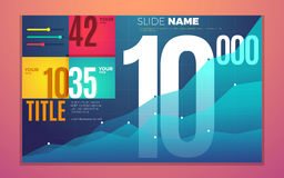 Bright contrast colors infographic set with progress chart, boxes, text and numbers. Vector creative modern eps10 illustration Royalty Free Stock Photos