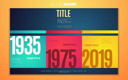 Bright contrast colors infographic with step by step infographic chart, boxes, text and numbers Royalty Free Stock Photo