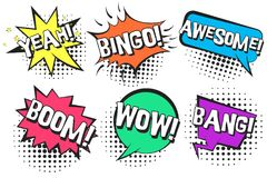 Retro comic speech bubbles with YEAH, BANG, WOW Royalty Free Stock Photography